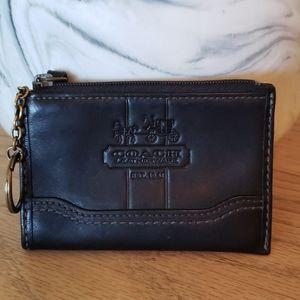 Vintage Black Coach Keychain Coin Card Zip Pouch